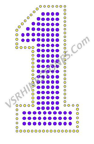 1 - Number Rhinestone Transfer