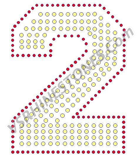 2 - Number Rhinestone Transfer