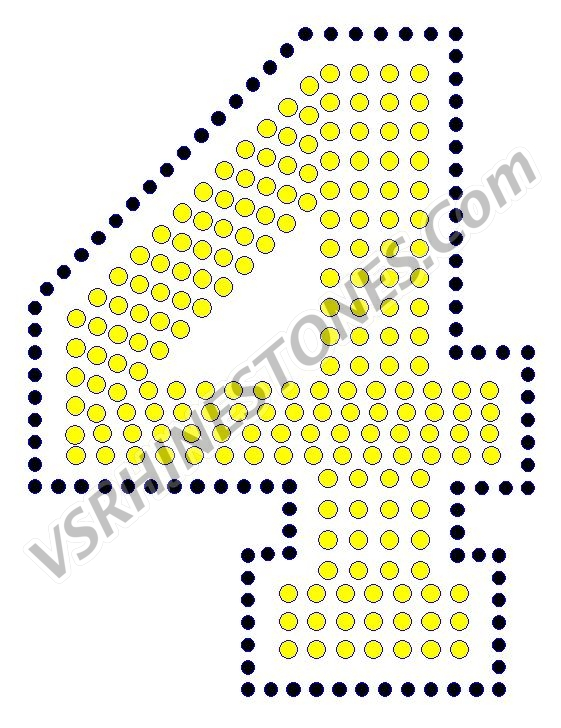 4 - Number Rhinestone Transfer