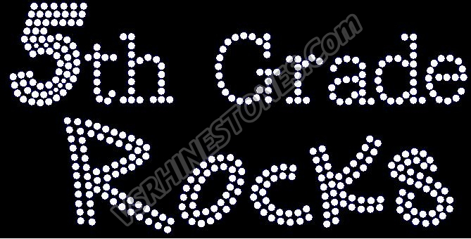 5th Grade Rocks Rhinestone Transfer