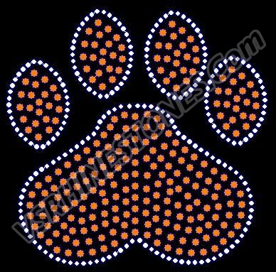Paw Print - 6 inch team fill Rhinestone Transfer - All Clear
