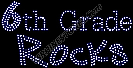 6th Grade Rocks Rhinestone Transfer