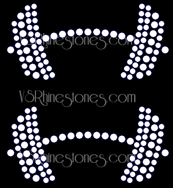 Bar Bells (2) Rhinestone Transfer
