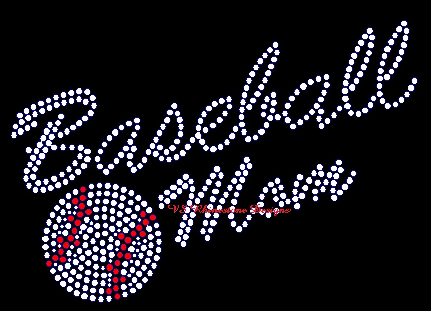 Baseball Mom Sports Script Rhinestone Transfer