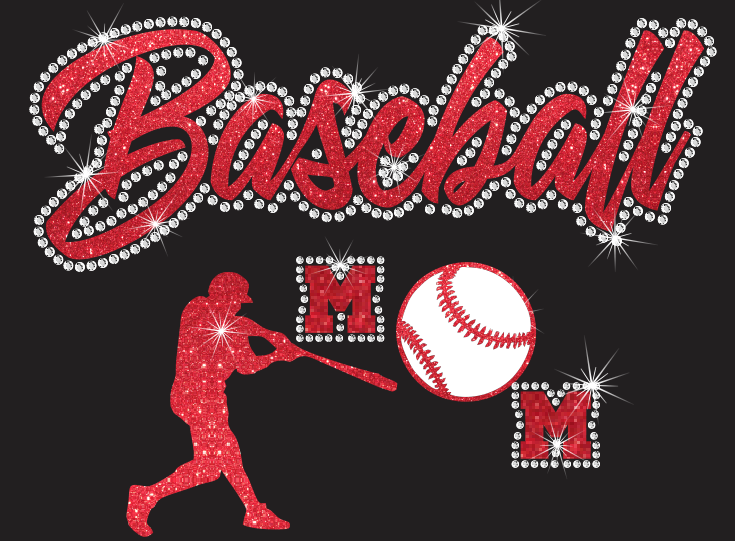 Baseball Mom Vinyl and Rhinestone Transfer