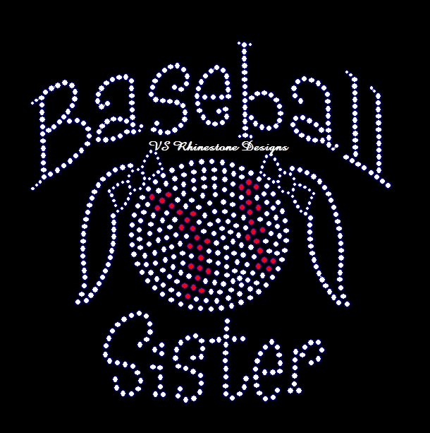 Baseball Sister NEW Rhinestone Transfer