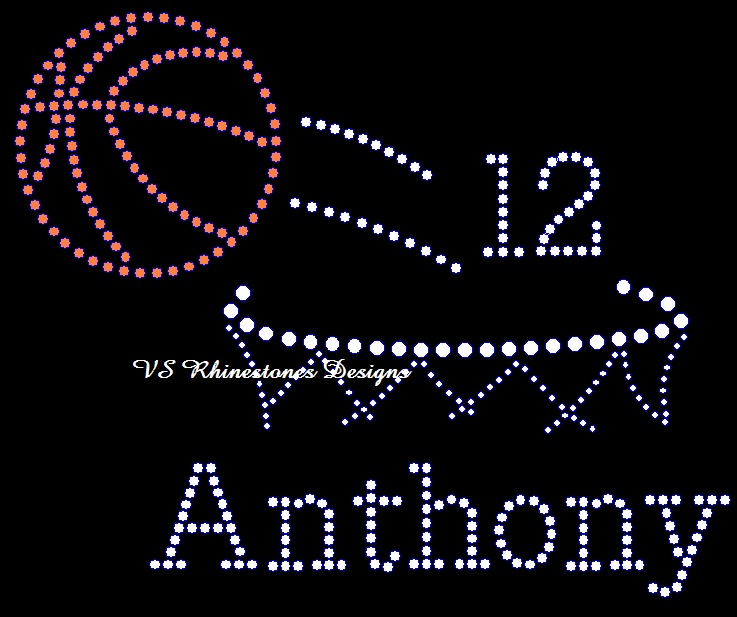 Basketball NEW - personalization optional Rhinestone Transfer