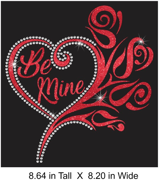 Be Mine Vinyl and Rhinestone Transfer
