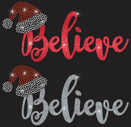 Believe (Santa Hat) Vinyl and Rhinestone Transfer