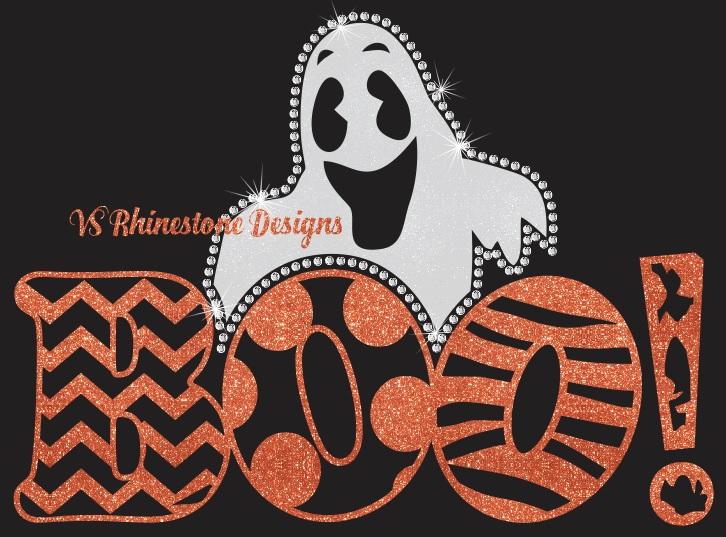 Boo Vinyl and Rhinestone Transfer