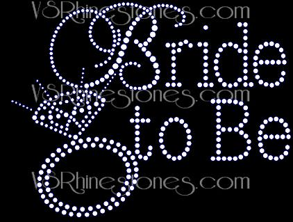 Bride to Be Captial Cursive Rhinestone Transfer