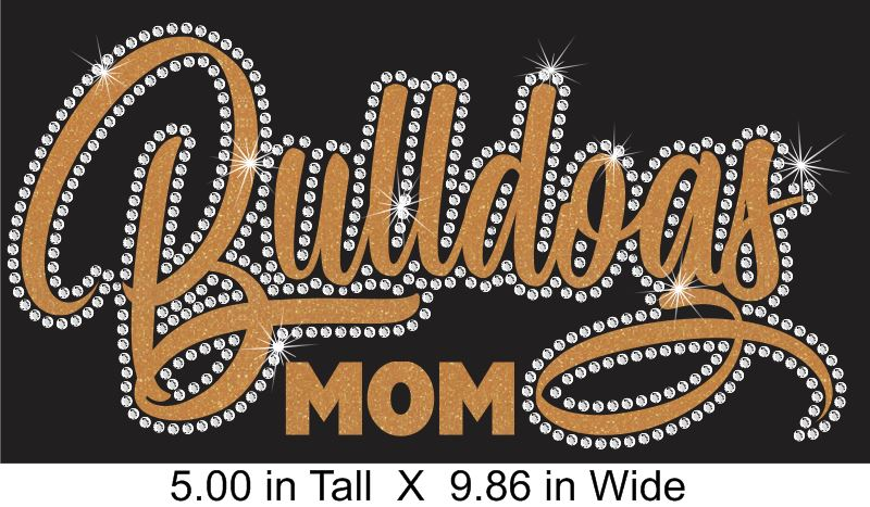 Bulldogs Cursive NEW Vinyl and Rhinestone Transfer