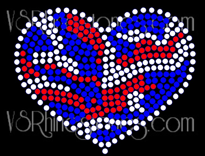 Camo Red White and Blue Heart Rhinestone Transfer
