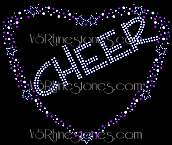Cheer Hearts and Stars Rhinestone Transfer