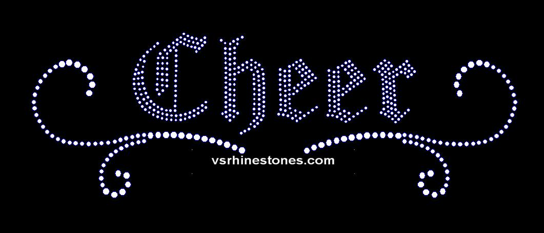 Cheer Scroll Rhinestone Transfer