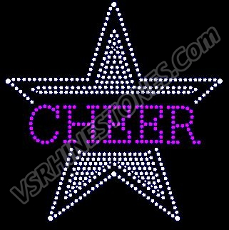 Cheer Star Drop Rhinestone Transfer - Green