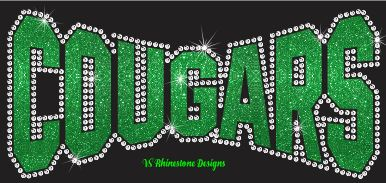 Cougars Arched Vinyl and Rhinestone Transfer
