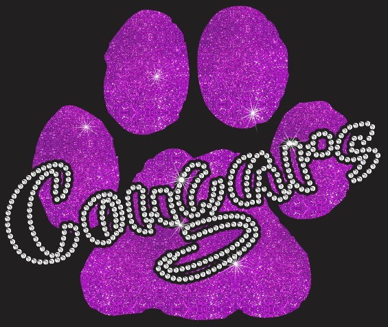 Cougars Paw CO Vinyl and Rhinestone Transfer