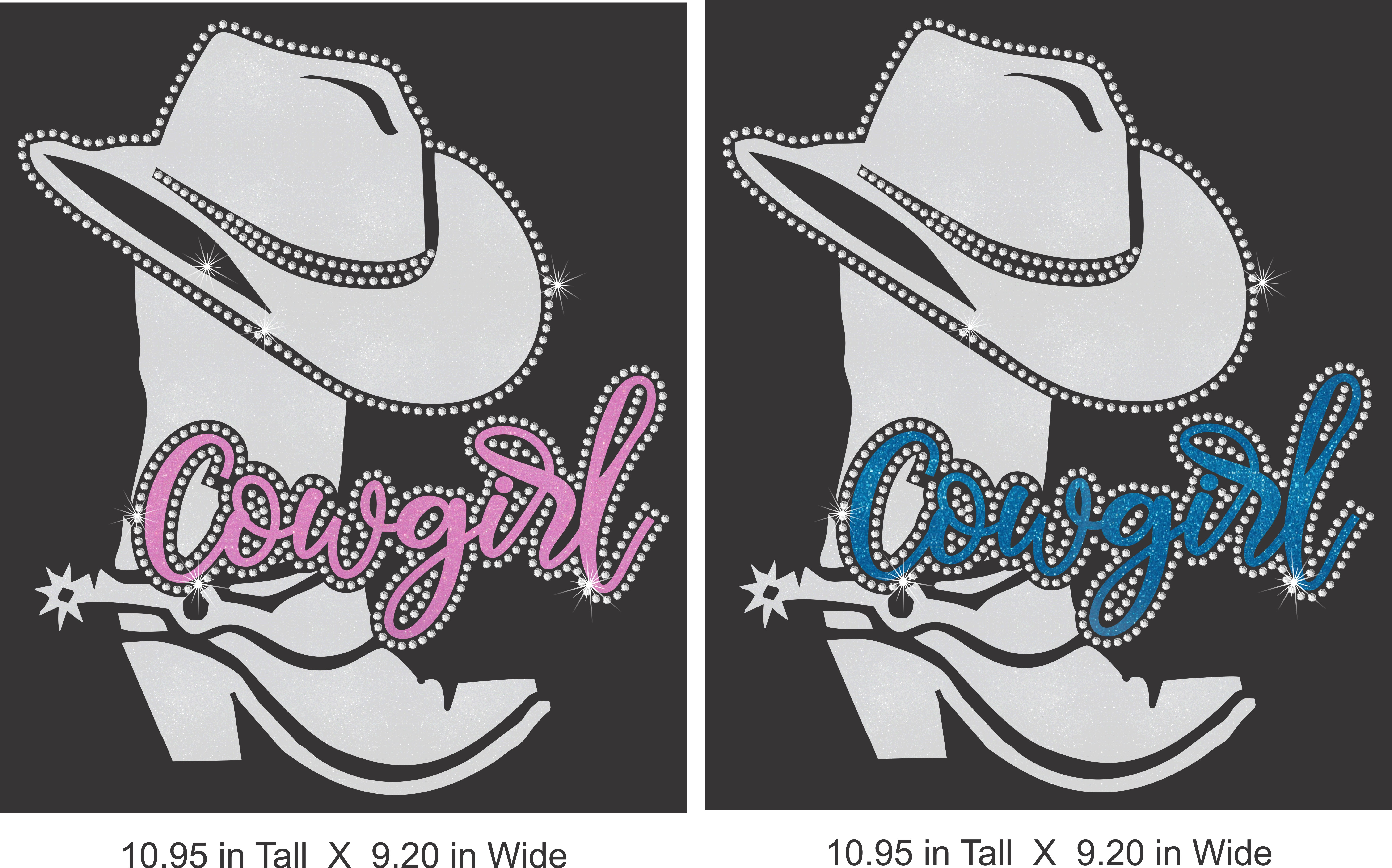 Cowgirl and Boot Vinyl and Rhinestone Transfer