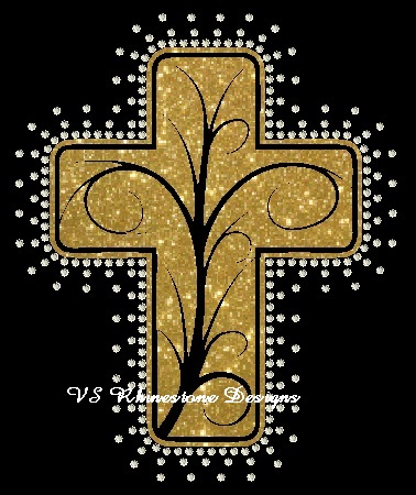 Cross Vinyl and Rhinestone Transfer