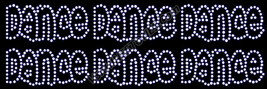 Dance Word Mini Rhinestone Transfers