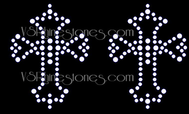 Small Divine Cross Rhinestone Transfer set of 2