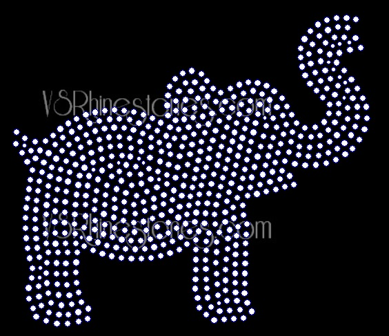 Elephant Filled Rhinestone Transfer