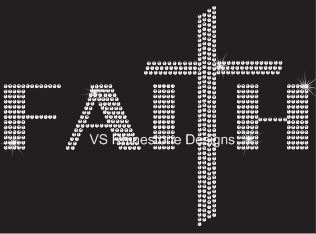 Faith Cross Rhinestone Transfer