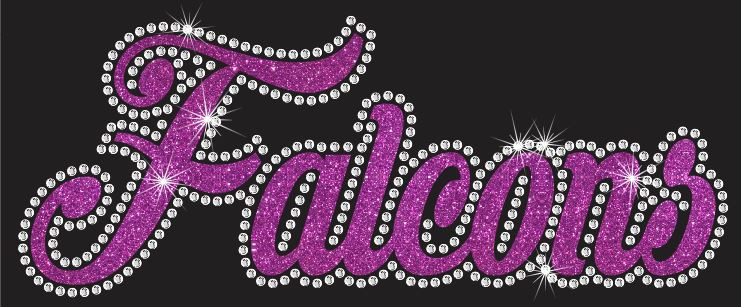 Falcons Cursive Vinyl and Rhinestone Transfer