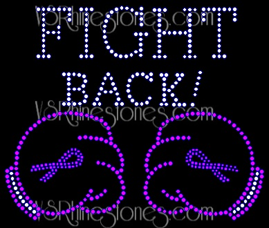 Fight Back Cancer Awareness Rhinestone Transfer