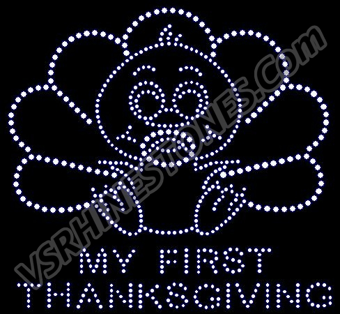 My First Thanksgiving Rhinestone Transfer Clear