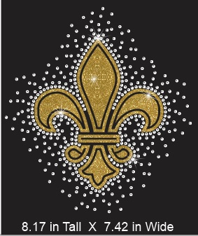 Fleur De Lis Single Color Vinyl and Rhinestone Transfer