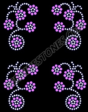 Flower Swirl Mini Rhinestone Transfers - Set of 4