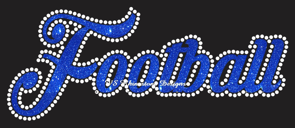 Football Cursive Vinyl and Rhinestone Transfer
