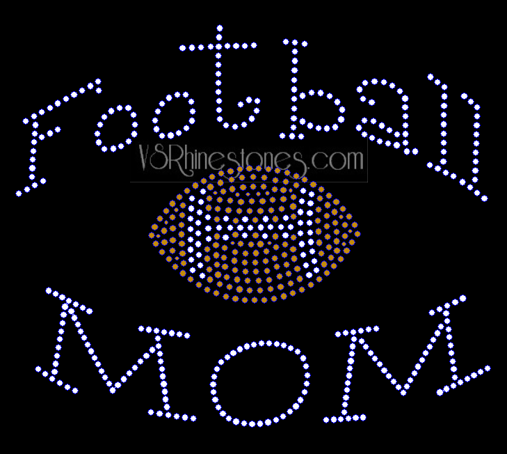 Football MOM Arched NEW Rhinestone Transfer