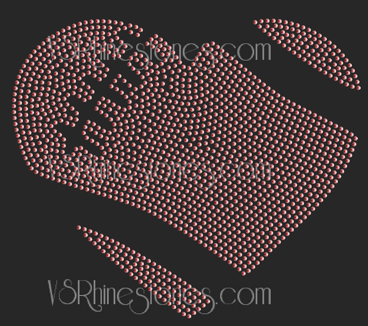 Football Heart Sequin Transfer