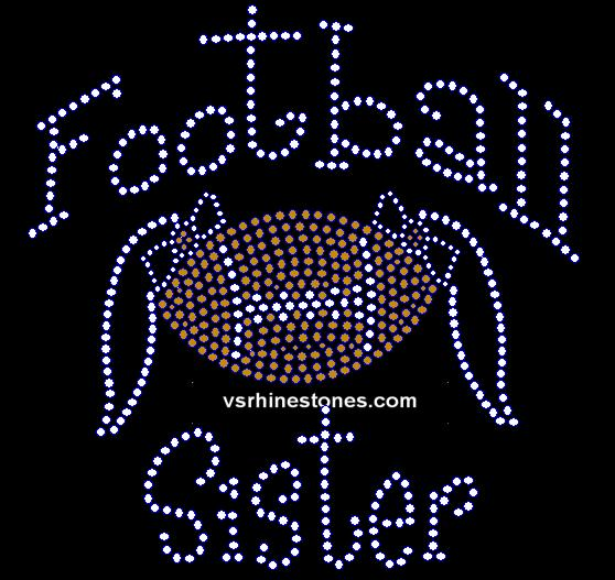 Football Sister NEW Rhinestone Transfer