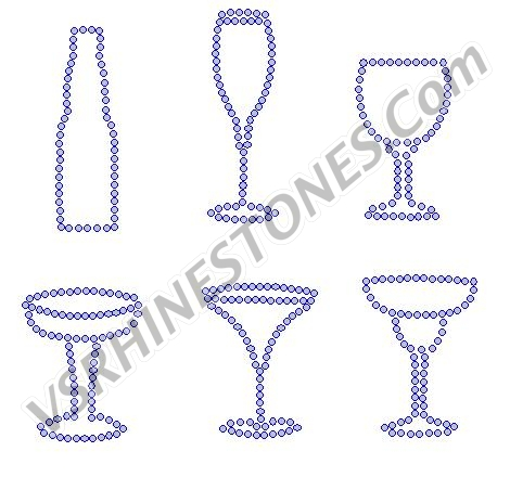 Glass Assortment Mini Rhinestone Transfers (6)