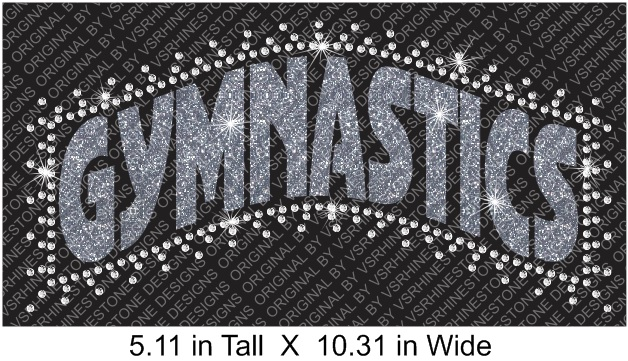Gymnastics Banner Arched Vinyl and Rhinestone Transfer