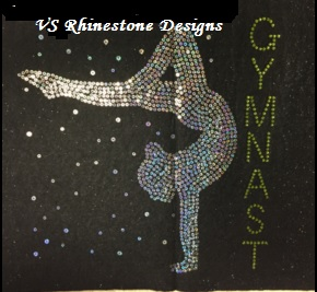-Gymnast Girl Large Sequin and Rhinestone Design - Turquoise