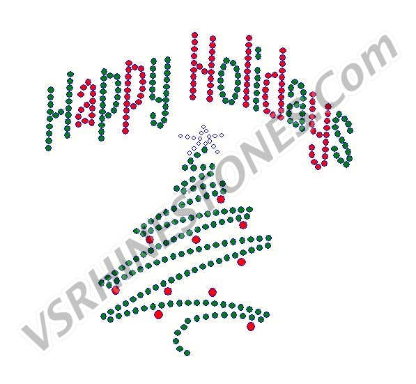Happy Holidays Tree Swirl Rhinestone Transfer
