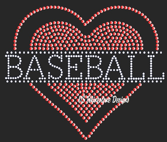 Baseball Heart Multimedia Sequin Transfer