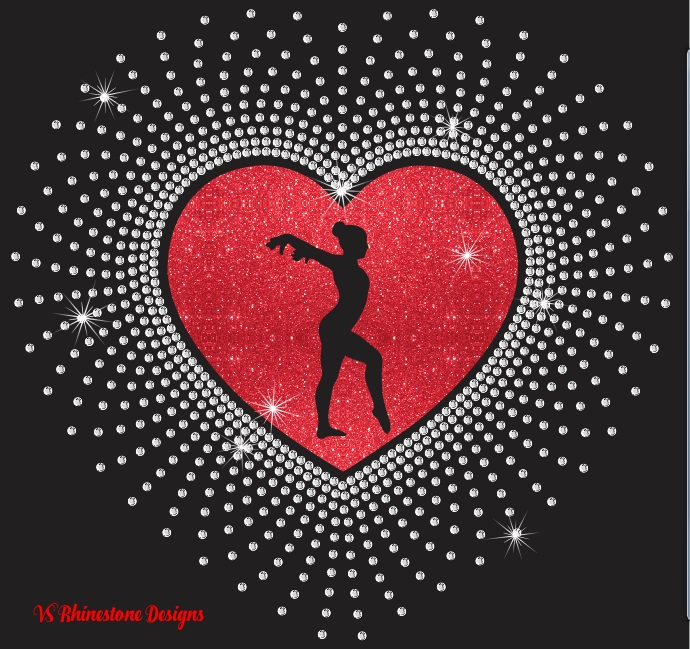 Heart Vinyl and Rhinestone Transfer
