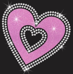 Double heart Vinyl and Rhinestone Transfer