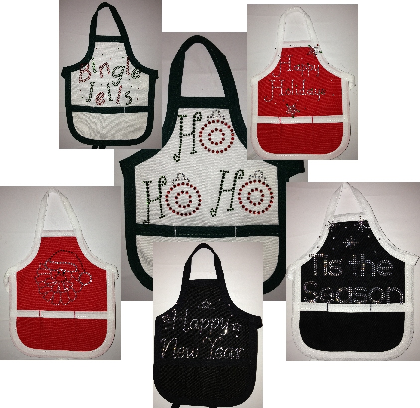 Wine Bottle Aprons - Holiday Sayings