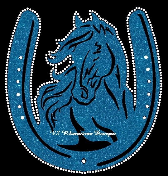 Horse and Horseshoe Vinyl and Rhinestone Transfer