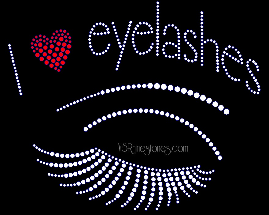 I Love Eyelashes Rhinestone Transfer