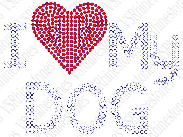 I Love My Dog Rhinestone Transfer