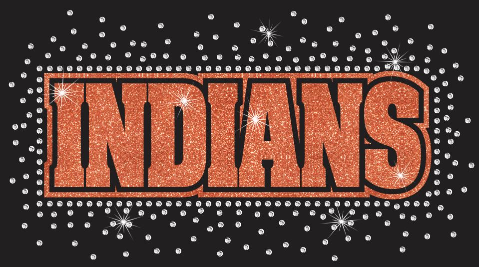 Indians Reverse Vinyl and Rhinestone Transfer