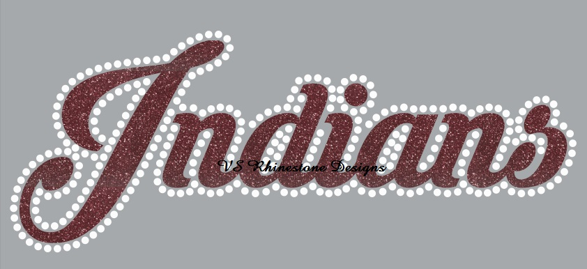Indians Cursive Vinyl and Rhinestone Transfer